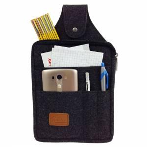 Multifunktions Gürteltasche Bauchtasche für Zuhause oder Arbeit Hüfttasche aus Filz, Schwarz meliert Bild 3