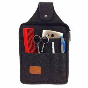 Multifunktions Gürteltasche Bauchtasche für Zuhause oder Arbeit Hüfttasche aus Filz, Schwarz meliert Bild 4