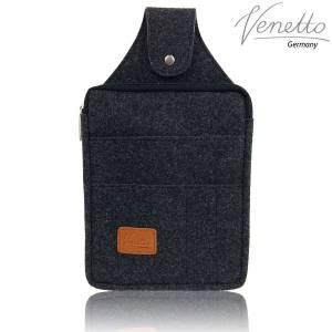 Multifunktions Gürteltasche Bauchtasche für Zuhause oder Arbeit Hüfttasche aus Filz, Schwarz meliert Bild 5