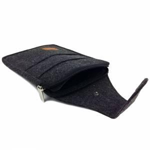 Multifunktions Gürteltasche Bauchtasche für Zuhause oder Arbeit Hüfttasche aus Filz, Schwarz meliert Bild 7