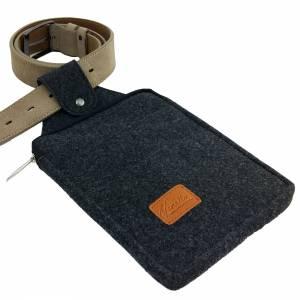 Multifunktions Gürteltasche Bauchtasche für Zuhause oder Arbeit Hüfttasche aus Filz, Schwarz meliert Bild 8