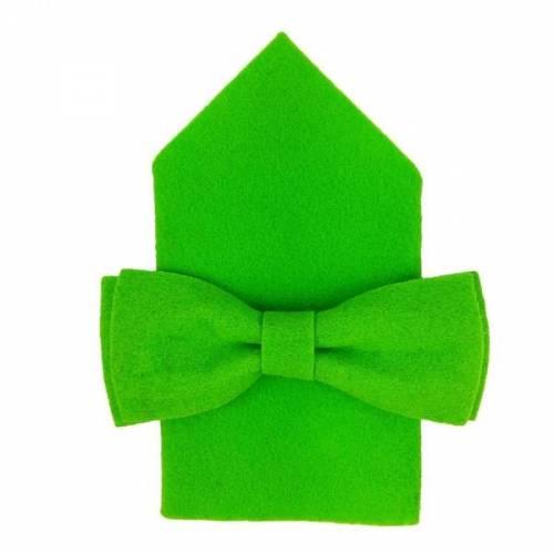 Herrenfliege Schleife Fliege aus Filz mit Tuch Filzfliege Grün hell