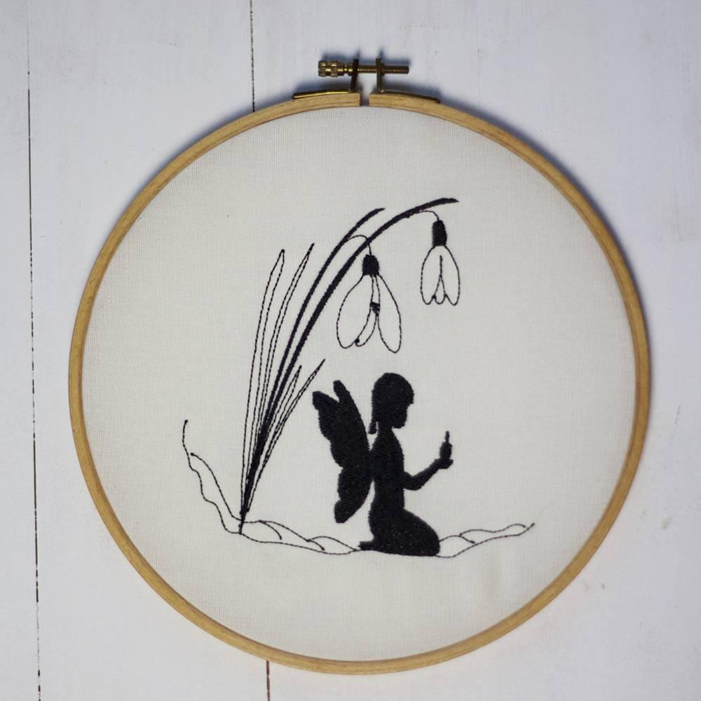 Stickdatei Schneeglöckchen mit Elfe Bild 1