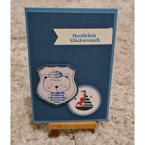 Glückwunschkarte , kleiner Matrose , Schiffchen , Blau