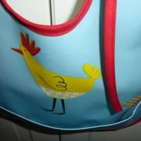 Lätzchen mit Auffangtasche 'Huhn', Wachstuch, abwaschbar, wasserfest, für Kinder + Erwachsene, Unikat hessmade Bild 2