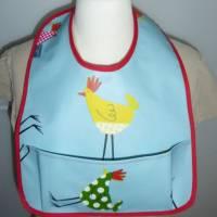 Lätzchen mit Auffangtasche 'Huhn', Wachstuch, abwaschbar, wasserfest, für Kinder + Erwachsene, Unikat hessmade Bild 4