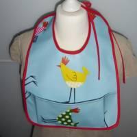 Lätzchen mit Auffangtasche 'Huhn', Wachstuch, abwaschbar, wasserfest, für Kinder + Erwachsene, Unikat hessmade Bild 5