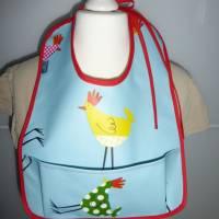 Lätzchen mit Auffangtasche 'Huhn', Wachstuch, abwaschbar, wasserfest, für Kinder + Erwachsene, Unikat hessmade Bild 6