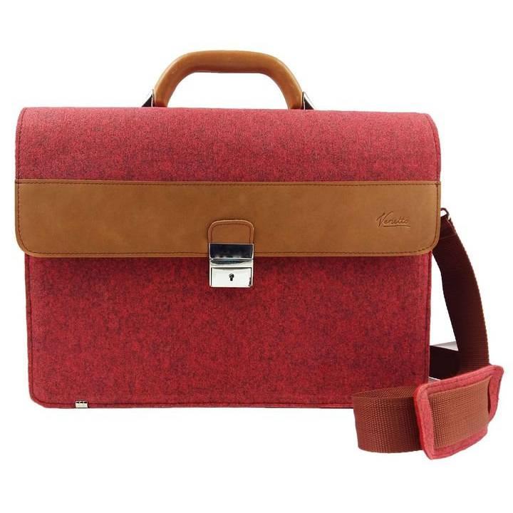 Aktentasche Tasche für MacBook Surface Umhängetasche uni Notebook Laptop Bürotasche rot Bild 1