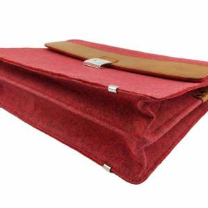 Aktentasche Tasche für MacBook Surface Umhängetasche uni Notebook Laptop Bürotasche rot Bild 3