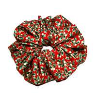 1 Haargummi Scrunchie *Ilex* in rot grün gold Haarschmuck genäht aus Baumwollstoff Bild 1
