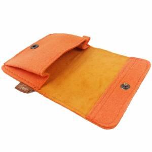 Kleines Mini Portemonnaie Geldtasche Damen Kinder Herren für Münzen Münz-Geldbörse mini Portemonnaie filz orange Bild 4