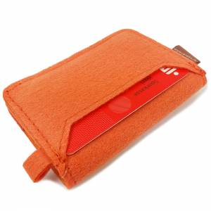 Kleines Mini Portemonnaie Geldtasche Damen Kinder Herren für Münzen Münz-Geldbörse mini Portemonnaie filz orange Bild 5
