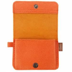 Kleines Mini Portemonnaie Geldtasche Damen Kinder Herren für Münzen Münz-Geldbörse mini Portemonnaie filz orange Bild 7