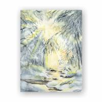 Winterwald, Wintersonne, Aquarell , Landschaft,15 x 20 cm Bild 1