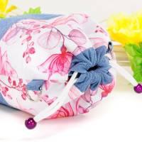 Umhängetasche/ Beuteltasche aus Jeans (Upcycling) und Patchworkstoff | Farben blau-weiß/pink/orange/bordeaux/violett Bild 5