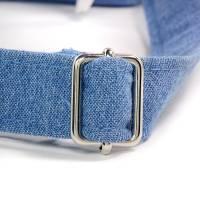 Umhängetasche/ Beuteltasche aus Jeans (Upcycling) und Patchworkstoff | Farben blau-weiß/pink/orange/bordeaux/violett Bild 7