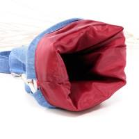 Umhängetasche/ Beuteltasche aus Jeans (Upcycling) und Patchworkstoff | Farben blau-weiß/pink/orange/bordeaux/violett Bild 8