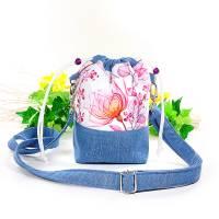 Umhängetasche/ Beuteltasche aus Jeans (Upcycling) und Patchworkstoff | Farben blau-weiß/pink/orange/bordeaux/violett Bild 9