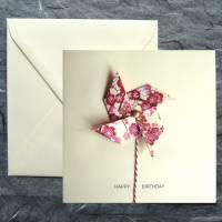 Minimalistische Glückwunschkarte mit Origami Windrädchen Bild 2