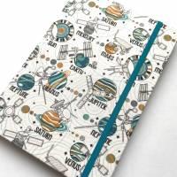 """Notizbuch """"Planets&Satellites"""" A5 Hardcover kariert stoffbezogen Planeten Universum Weltall Geschenk Geschenkide Bild 4"""