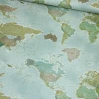 Canvas Leinenoptik MAPS Weltkarte blue Bild 1