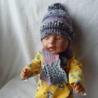 Puppen Winterset,Mütze und Schal Bild 1