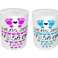 Spardose für Babys mit Wunschdaten - Geschenkidee aus Keramik Bild 1