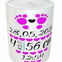 Spardose für Babys mit Wunschdaten - Geschenkidee aus Keramik Bild 2