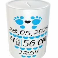 Spardose für Babys mit Wunschdaten - Geschenkidee aus Keramik Bild 3