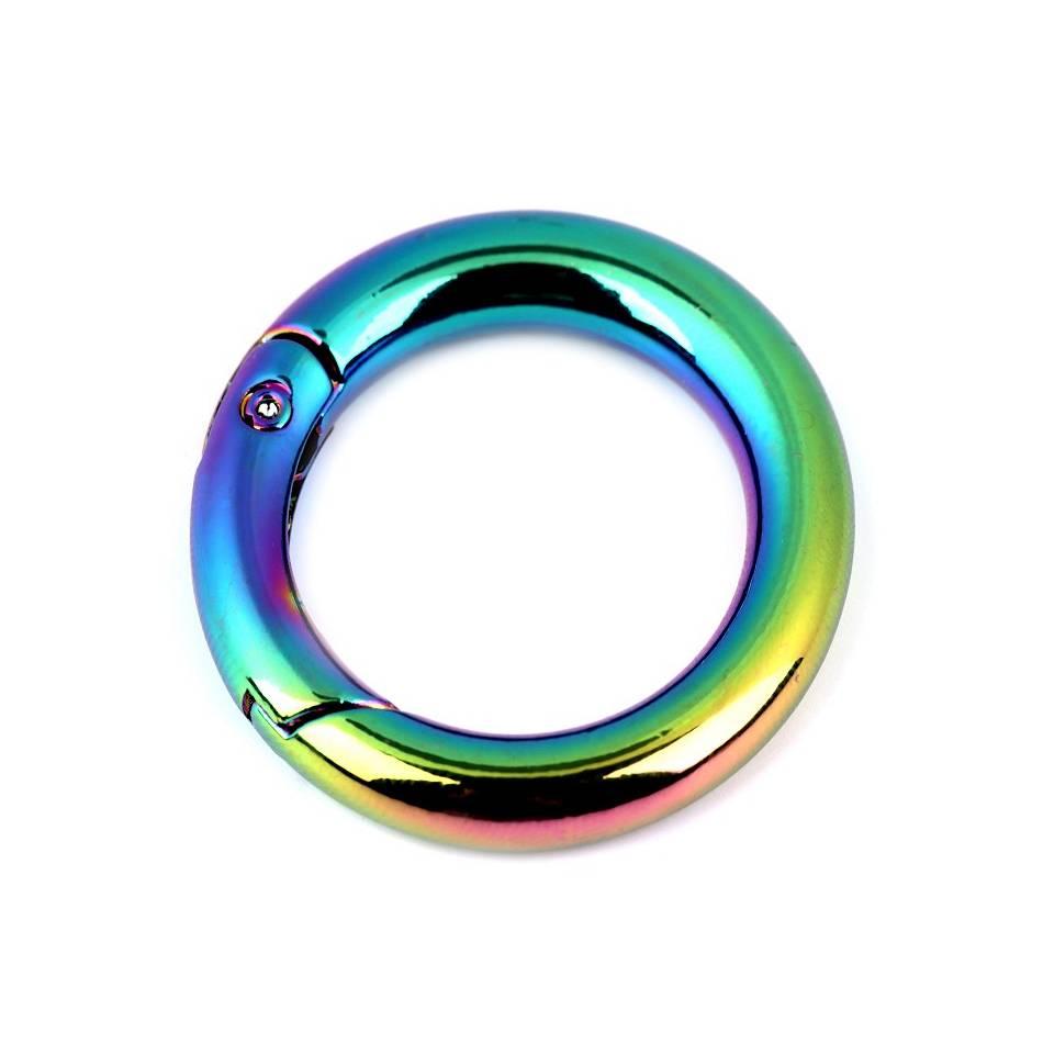 Karabiner Ring 25mm Vernickelt Regenbogen Bild 1