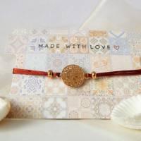 Armband Makrameeband, verschiedene Farben, mit Metallelement Blume, Geburtstag, Geschenk, siena, dunkelgrün, blau, peach Bild 1