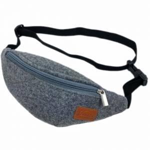 Gürteltasche Bauchtasche Hüfttasche Wandertasche aus Filz Filztasche Grau Bild 4
