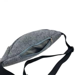 Gürteltasche Bauchtasche Hüfttasche Wandertasche aus Filz Filztasche Grau Bild 5