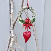Fensterdeko, Fensterschmuck Winter-Advent-Deko mit Fliegenpilz und Herz Bild 3