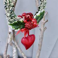 Fensterdeko, Fensterschmuck Winter-Advent-Deko mit Fliegenpilz und Herz Bild 8
