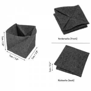 Faltbar Mini Portemonnaie Geldbörse Geldtasche wallet Kinder-Börse handgemacht aus Filz grau Bild 2