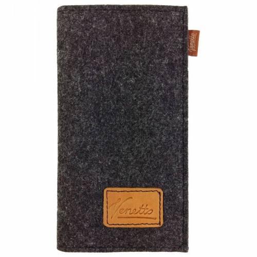 Venetto Portemonnaie Geldbörse Geldtasche wallet Börse handgemacht aus Filz für EC Karten, Münzen Schwarz