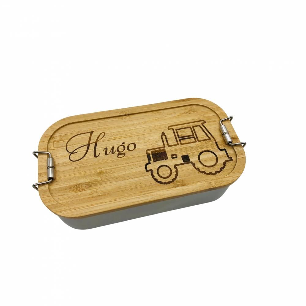 Brotdose Brotbox Lunchbox Blechdose Name Kindergarten Bambus Deckel Kind Taufe Weihnachten personalisiert Geschenk  Bild 1