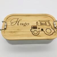 Brotdose Brotbox Lunchbox Blechdose Name Kindergarten Bambus Deckel Kind Taufe Weihnachten personalisiert Geschenk  Bild 2