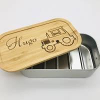 Brotdose Brotbox Lunchbox Blechdose Name Kindergarten Bambus Deckel Kind Taufe Weihnachten personalisiert Geschenk  Bild 3