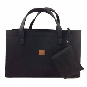 Big Shopper große Damentasche Handtasche Filztasche Umhängetasche Einkaufen Henkeltasche Tasche Filz Henkel shoppen schw Bild 1