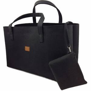 Big Shopper große Damentasche Handtasche Filztasche Umhängetasche Einkaufen Henkeltasche Tasche Filz Henkel shoppen schw Bild 2