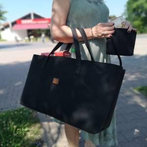 Big Shopper große Damentasche Handtasche Filztasche Umhängetasche Einkaufen Henkeltasche Tasche Filz Henkel shoppen schw Bild 3