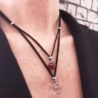 Kette, Leder und Bergkristall- und Achatkugel, Doppelkette Bild 1