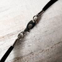 Kette, Leder und Bergkristall- und Achatkugel, Doppelkette Bild 4