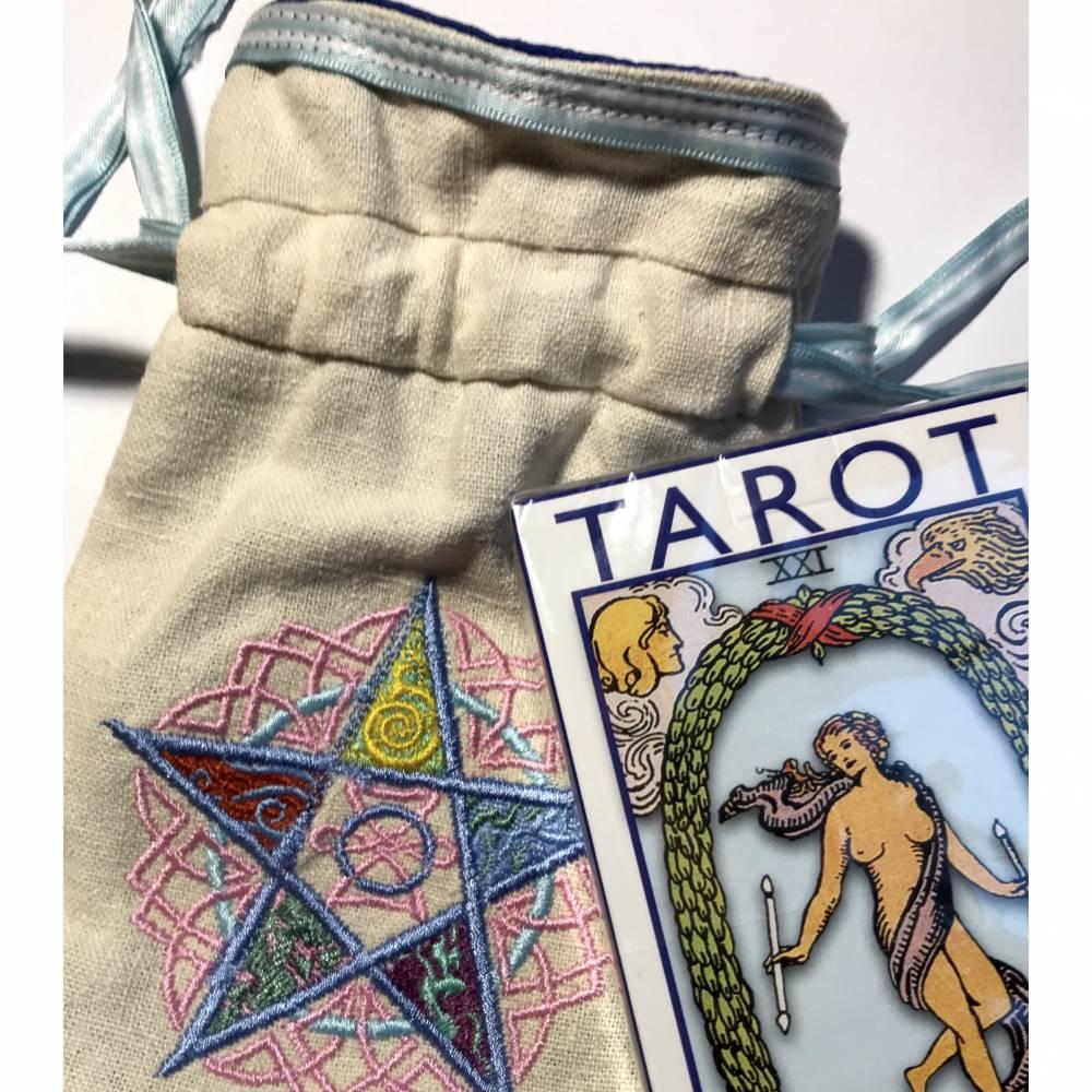Säckchen für Pendel, Tarotkarten, Runensteine, Edelsteine, Schmuck - innen Seide, außen Leinenstoff + Tarot-Deck Bild 1