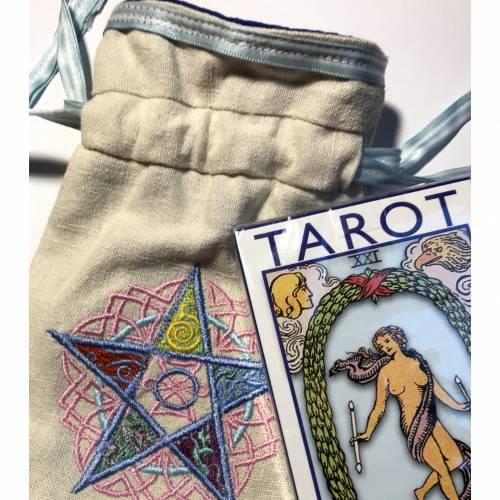 Säckchen für Pendel, Tarotkarten, Runensteine, Edelsteine, Schmuck - innen Seide, außen Leinenstoff + Tarot-Deck