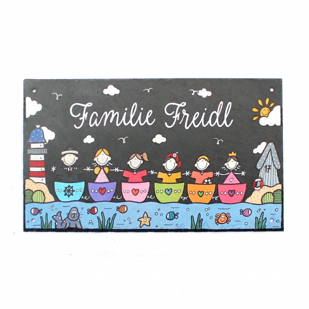 Schieferschild Familie Türschild Schiefer personalisiert Namensschild maritim Familienschild Boote Bild 1