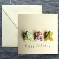 Glückwunschkarte mit Origami Fröschen Bild 1